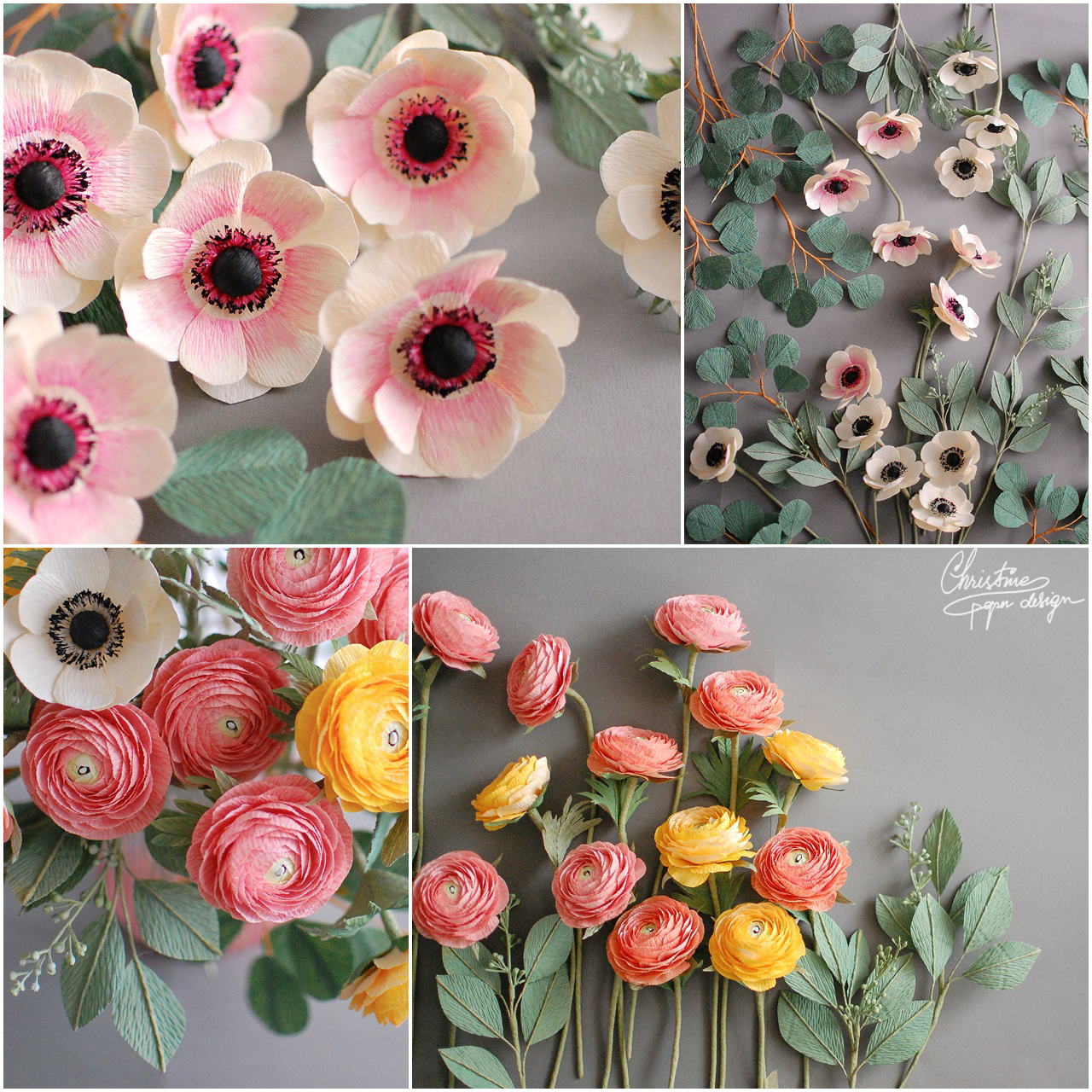 Christine paper design - paper ranunculus and anemone
