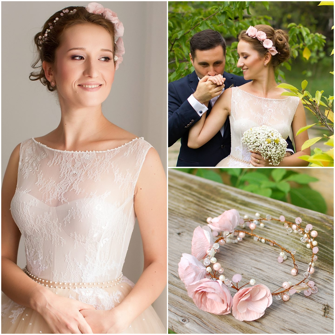 Soft Pink Paper Flowers Crown For A Lovely Sweet Bride Christine