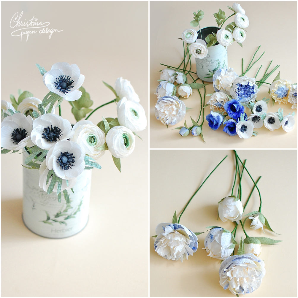 1.Christine paper design - blue blowers