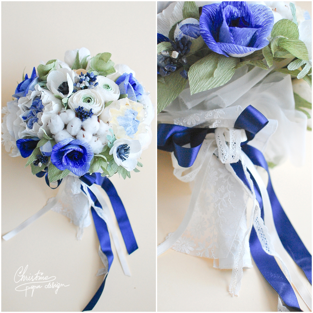 2.Christine paper design - blue bridal  bouquet