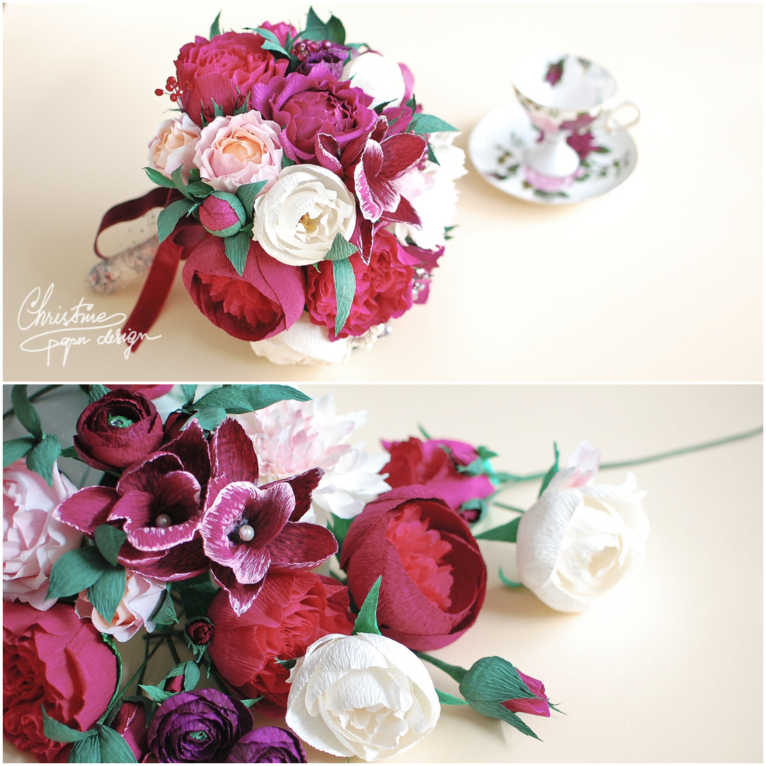 1 Christine paper design - red bridal bouquet