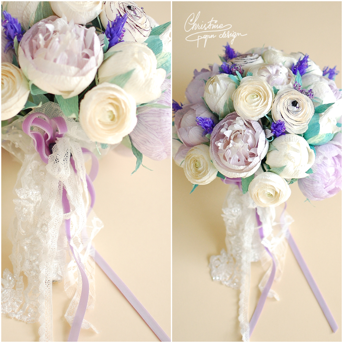 2Christine paper design - paper peonies bridal bouquet