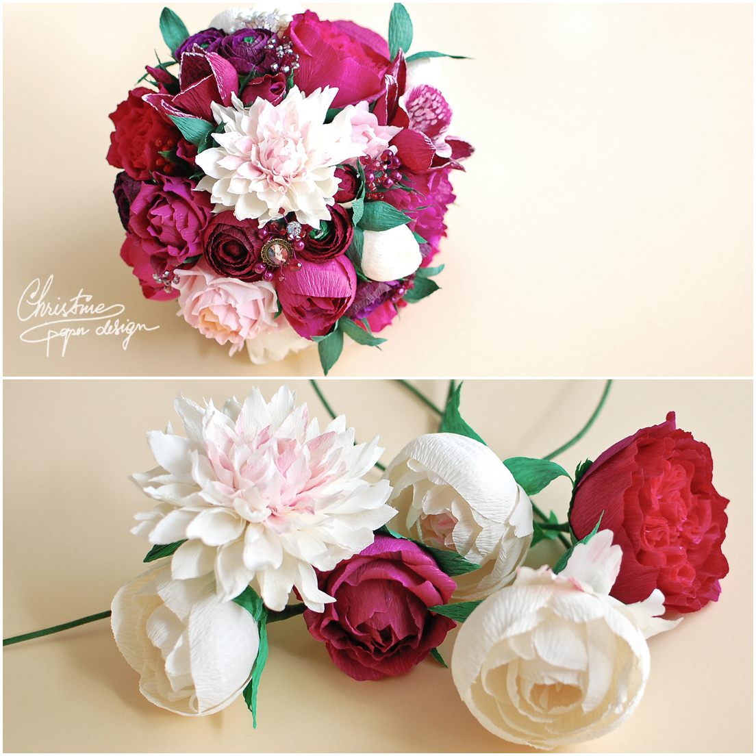 2Christine paper design - red alternative bridal bouquet