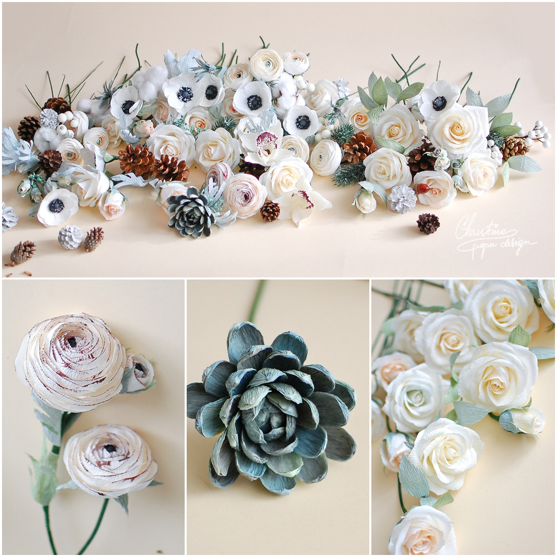 1Christine paper design - winter paper flowers