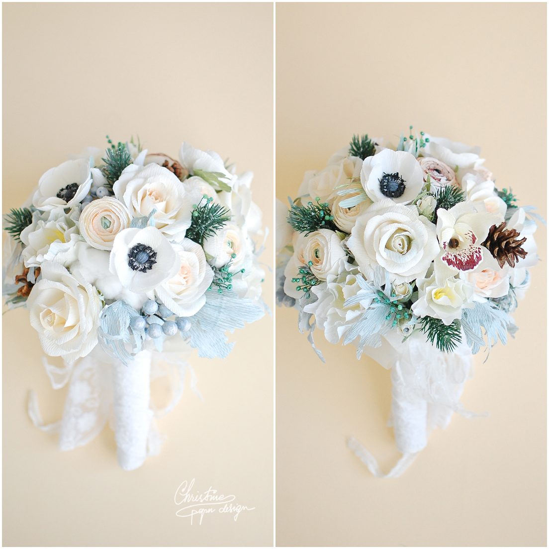 Winter theme paper flowers bridal bouquet. | Christine Paper Design