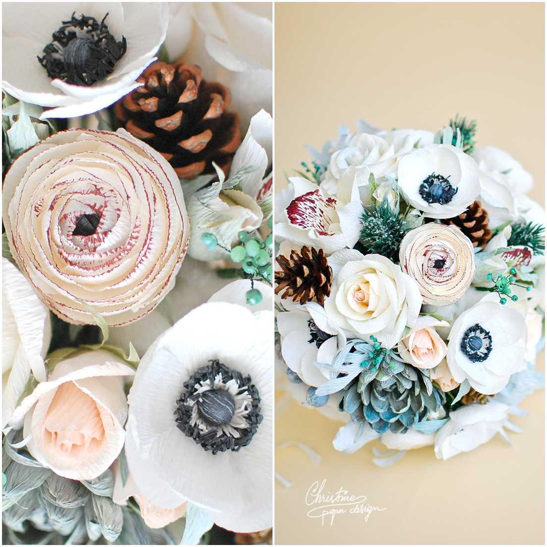 7Christine paper design - alternative winter flowers wedding bouquet