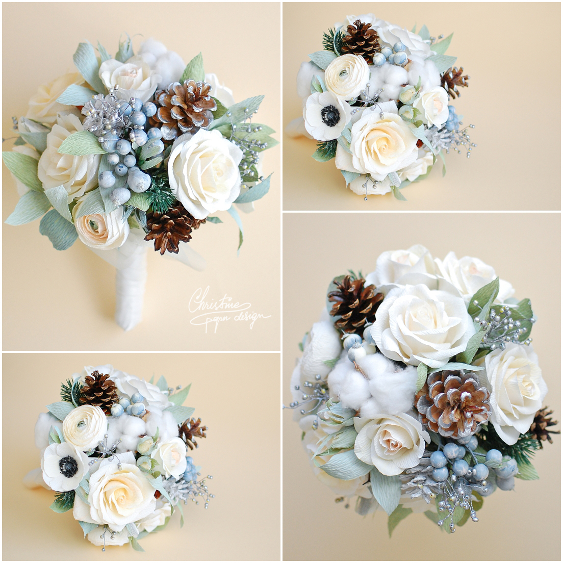 8Christine paper design - alternative winter flowers wedding bouquet2