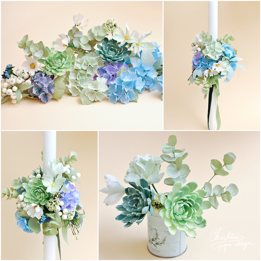 paper flowers baptism candle (2)