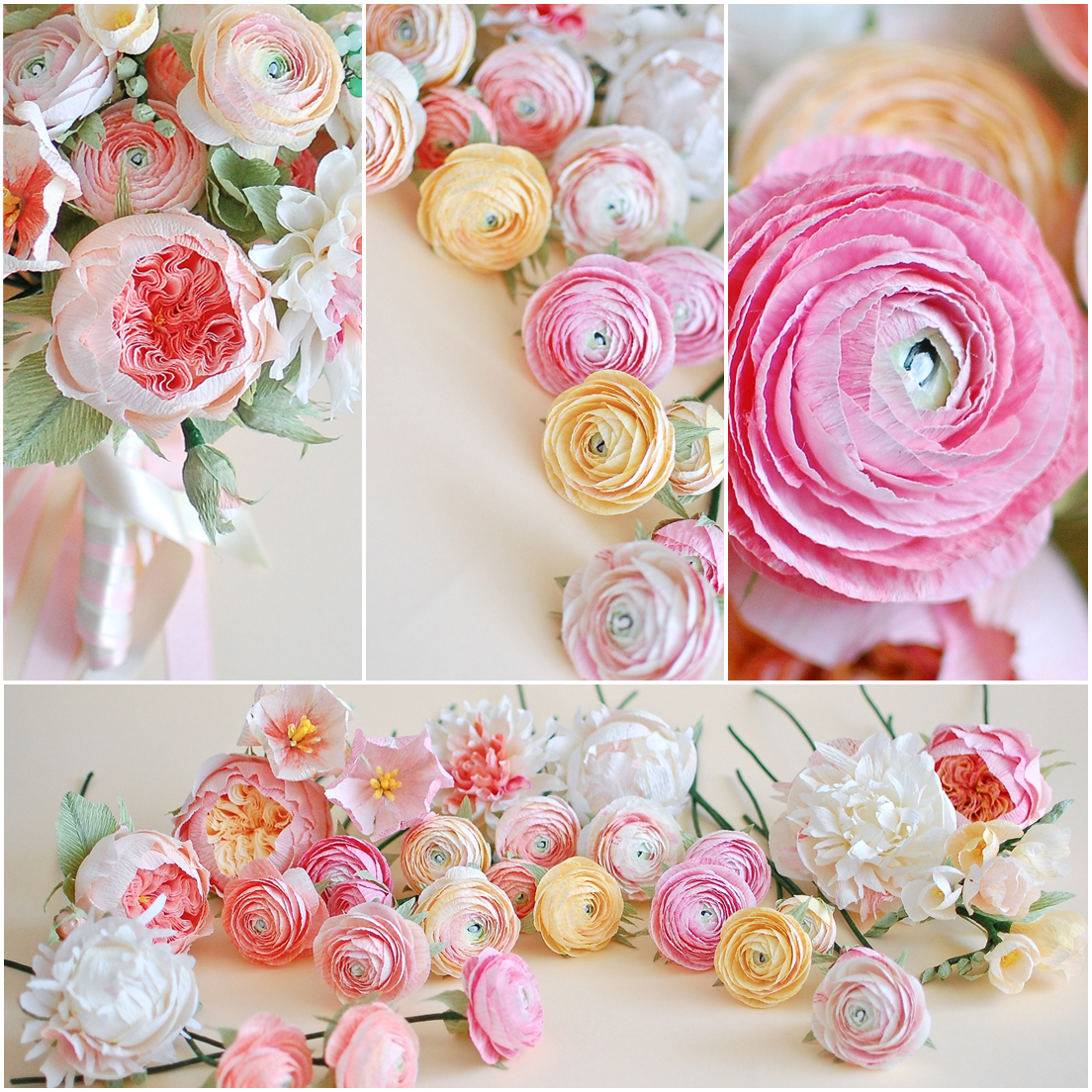 paper flowers bridal bouquet, ranunculus (1)