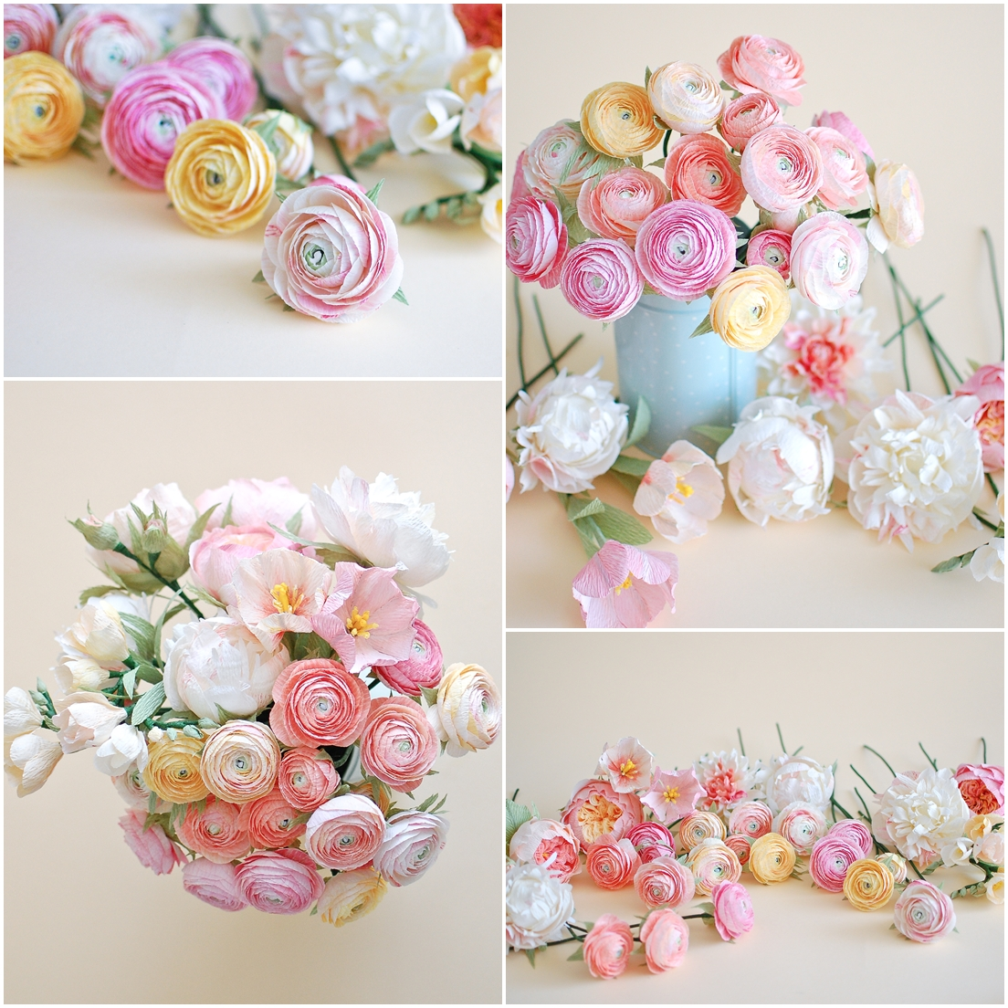 paper flowers bridal bouquet, ranunculus (2)