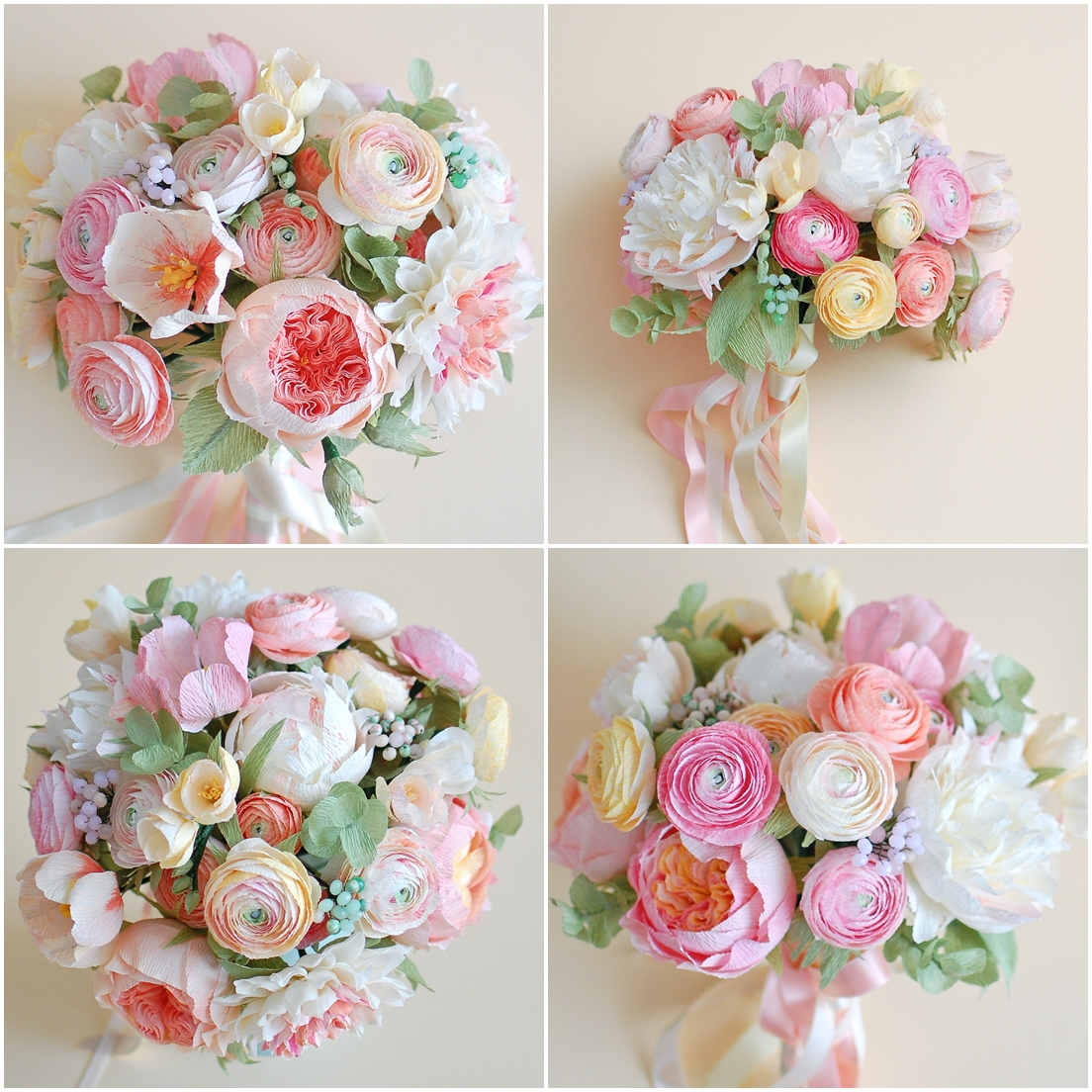 paper flowers bridal bouquet, ranunculus (3)