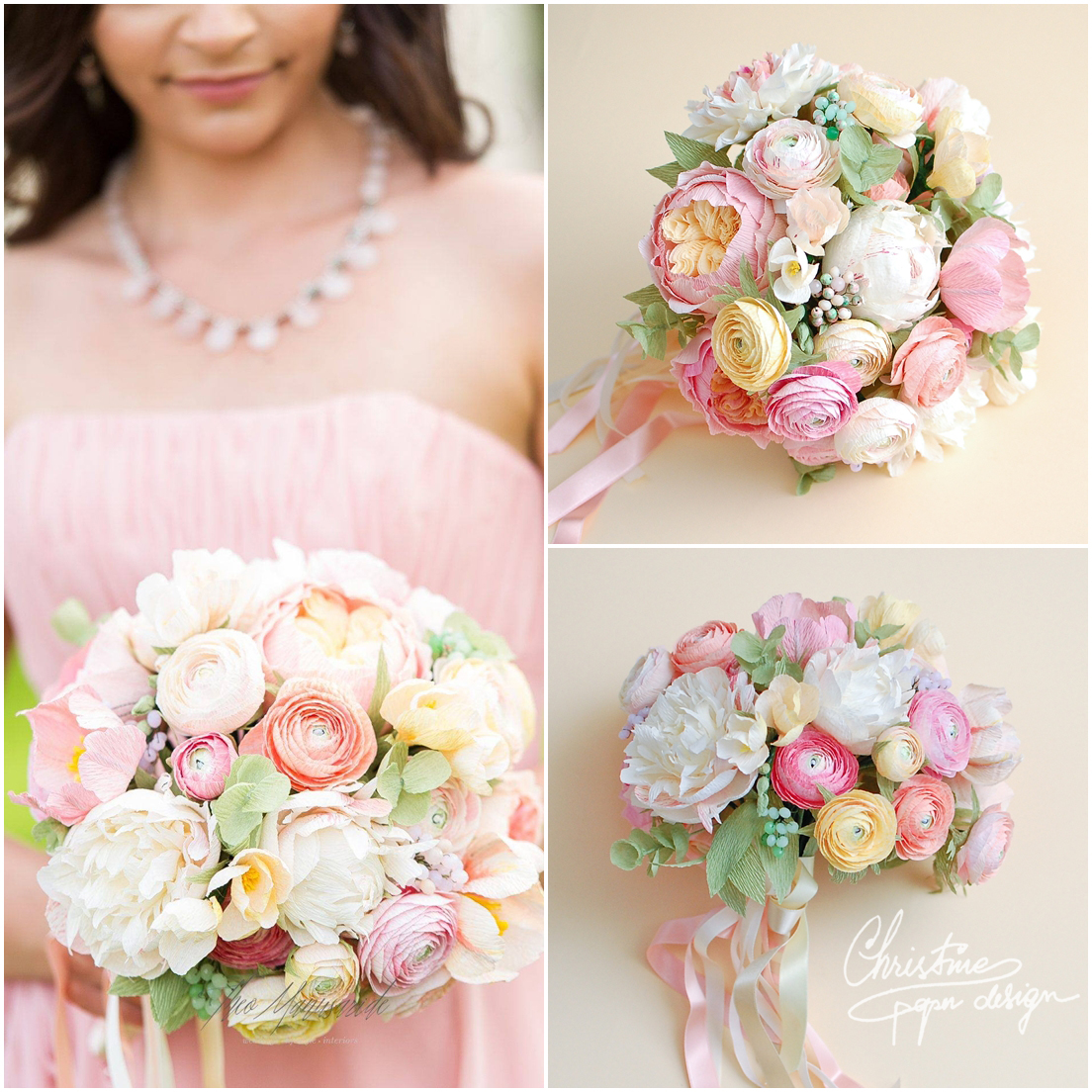 paper flowers bridal bouquet, ranunculus