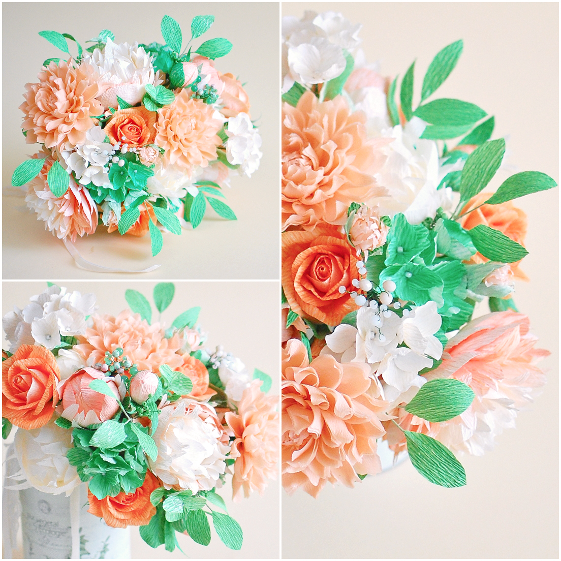 paper flowers-bridal bouquet, salmon pink