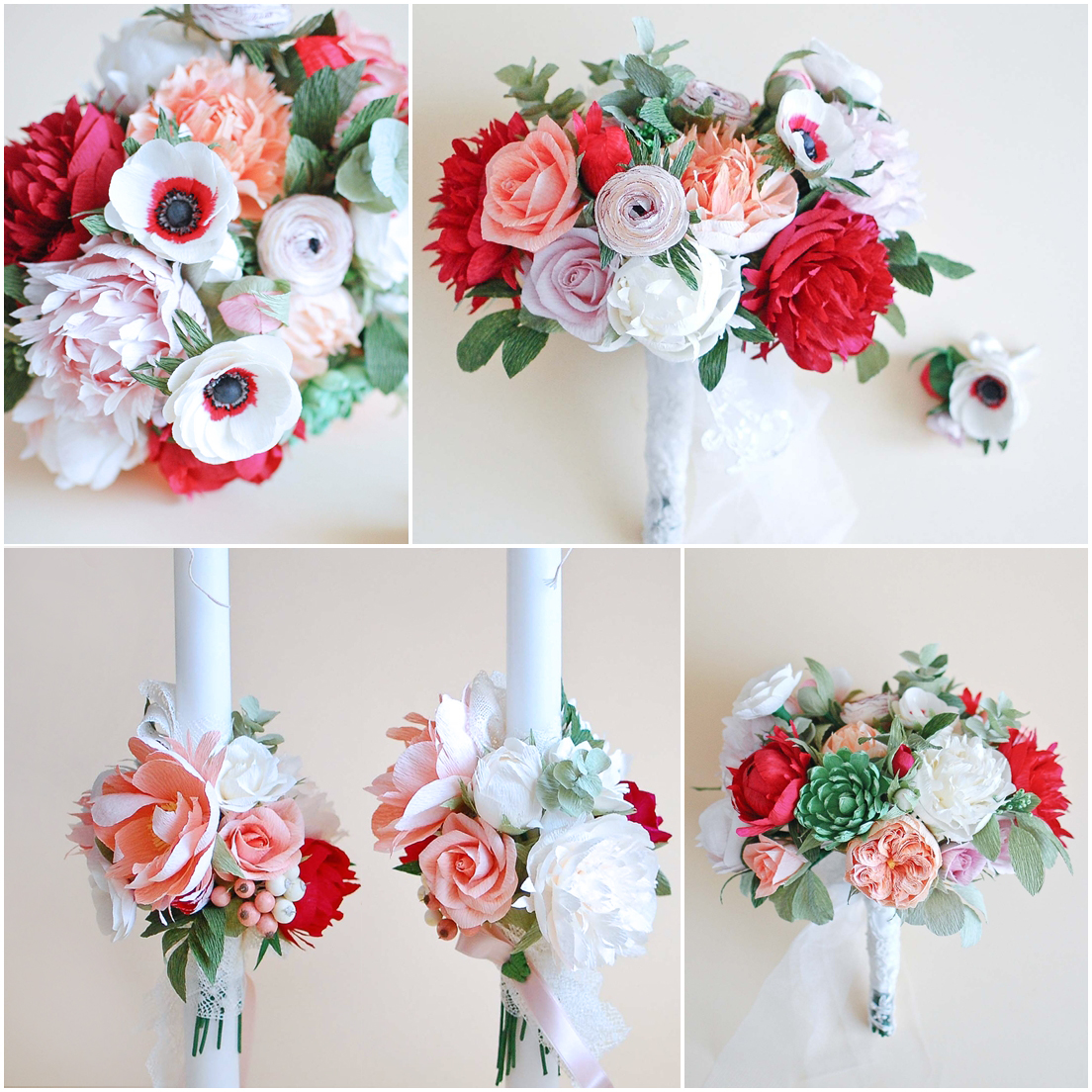 red and coral paper flowers (2 )