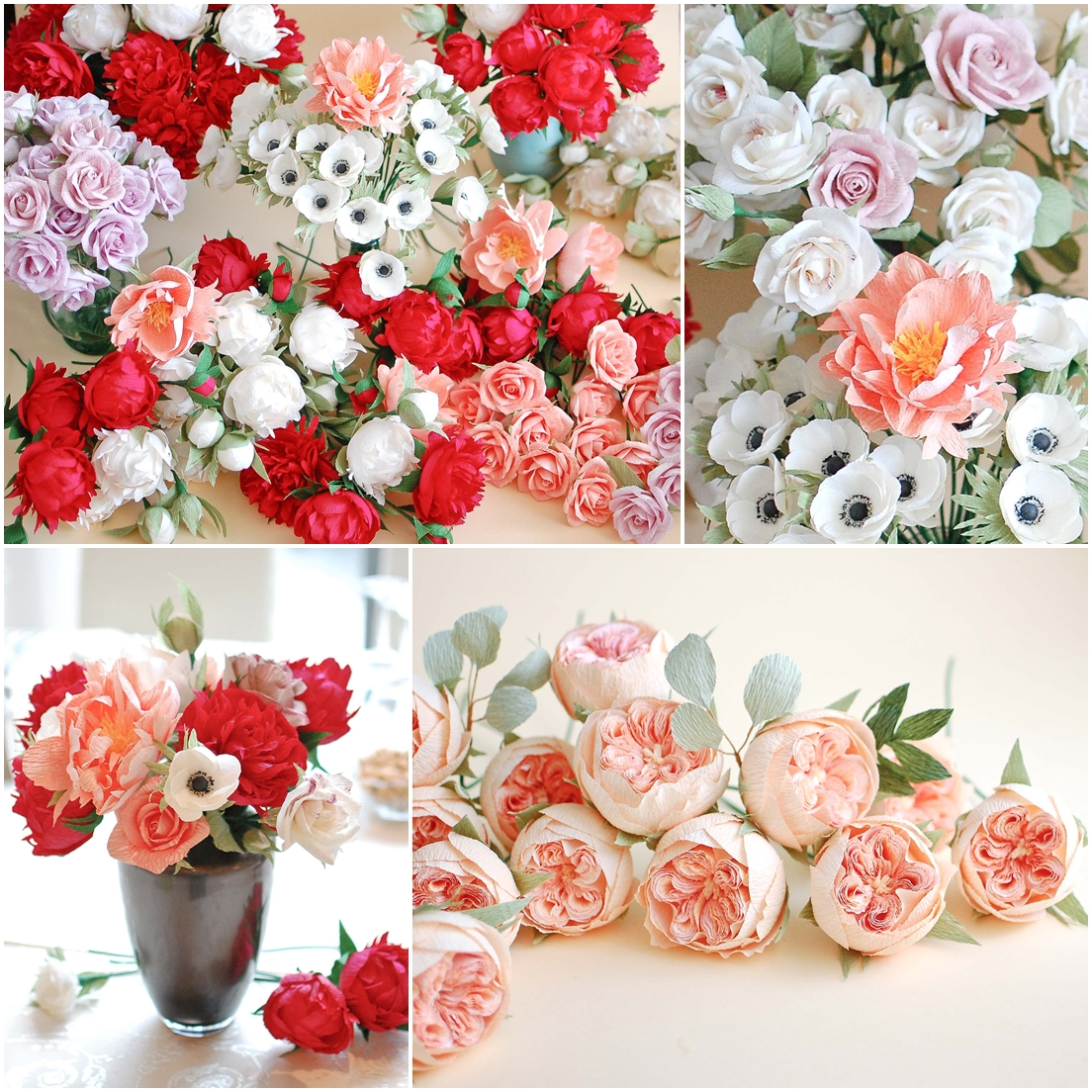 Red pink and coral paper flowers for a beautiful bride christine red and coral paper flowers 3 mightylinksfo