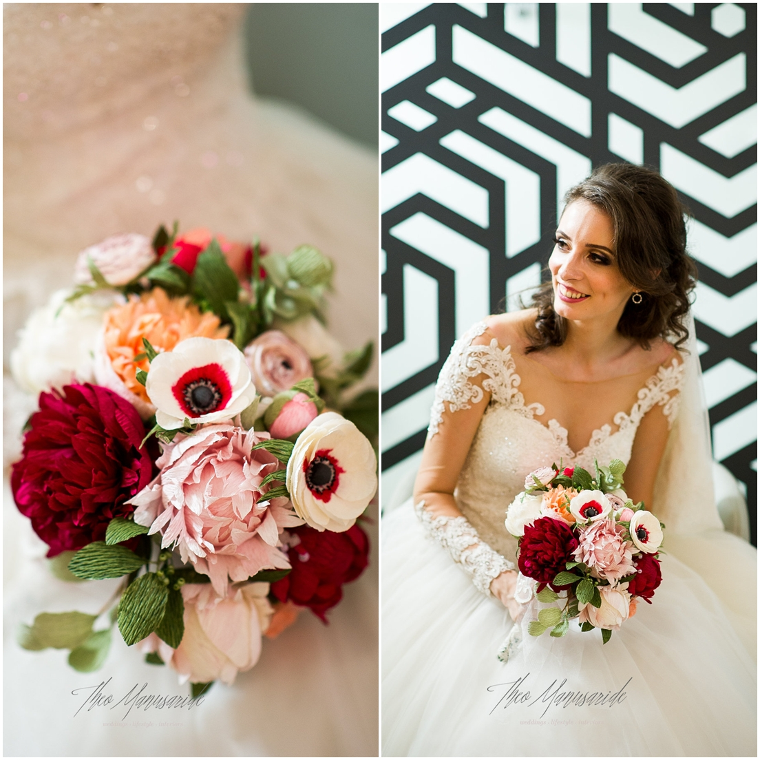 Red pink and coral paper flowers for a beautiful bride christine red and coral paper flowers mightylinksfo