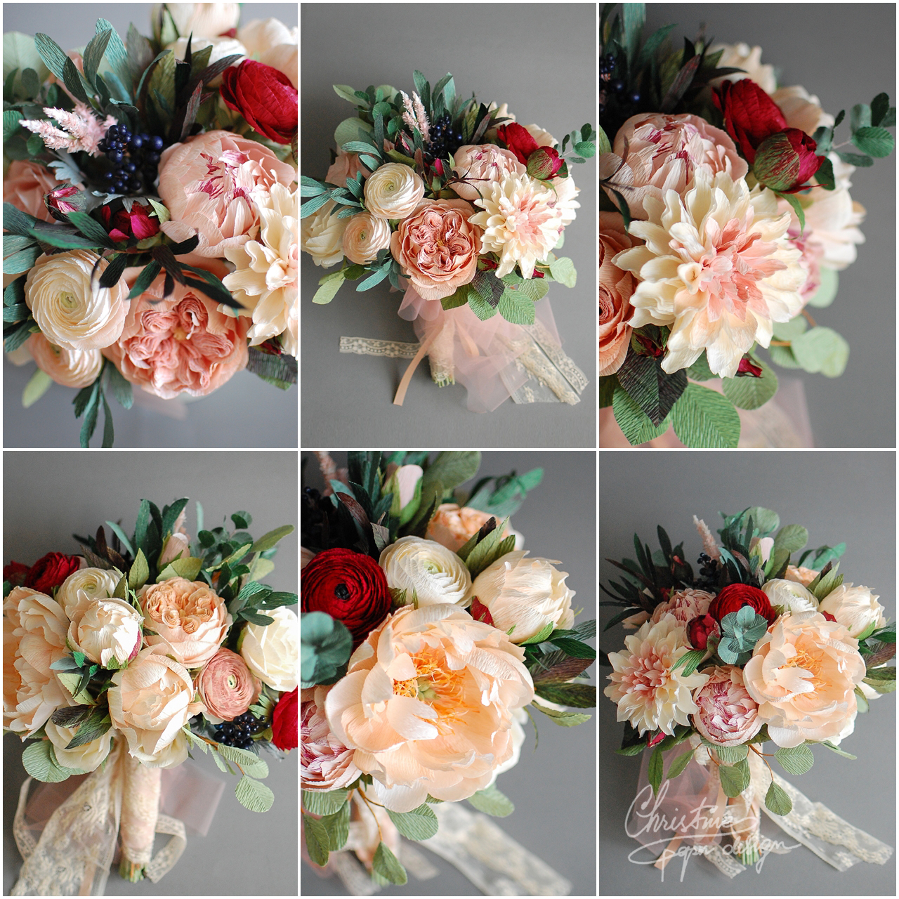 paperflowers bridal bouquet - Christinepaperdesign