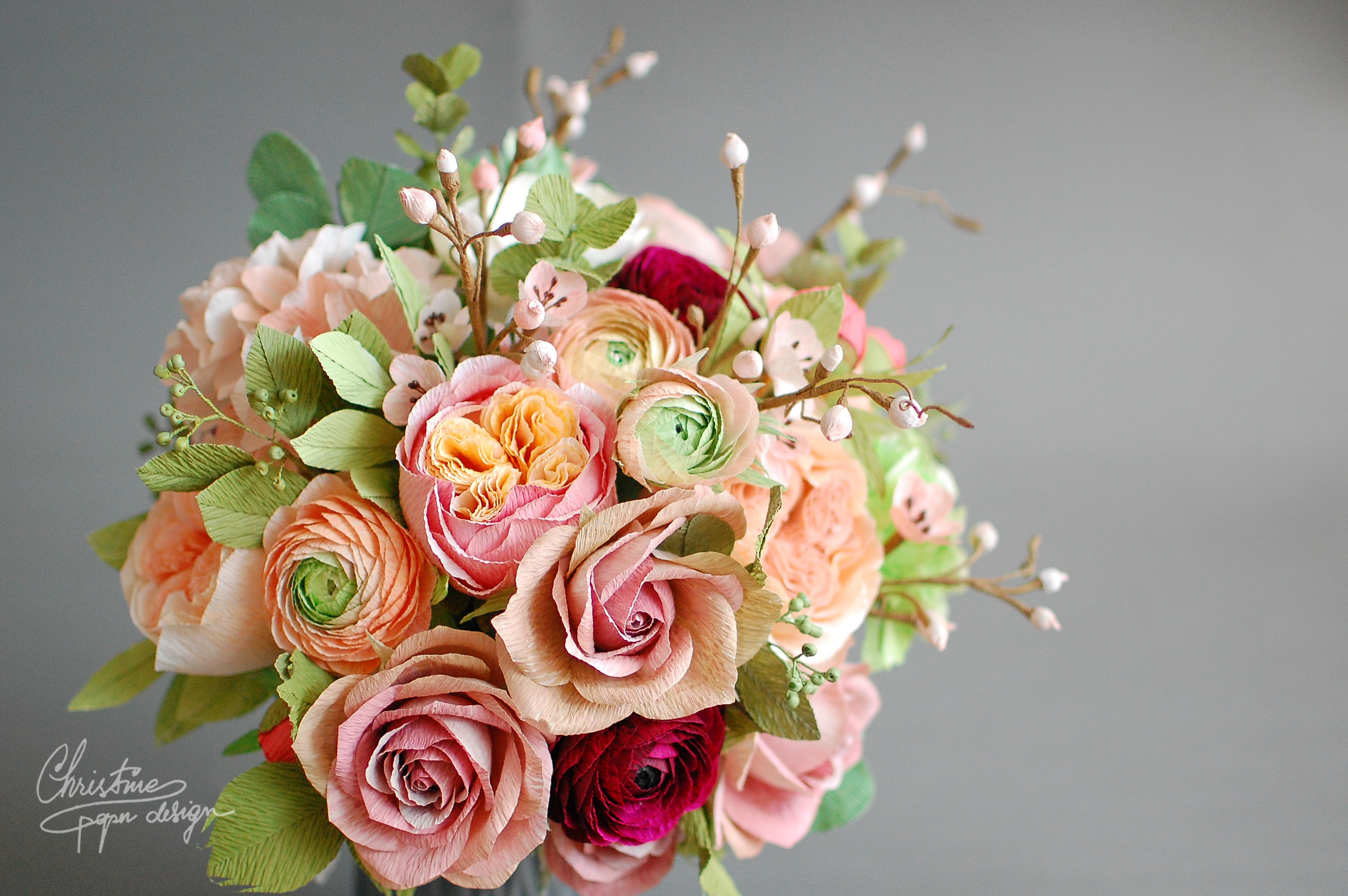 paper flower bridal bouquet - Christine paper design (5)