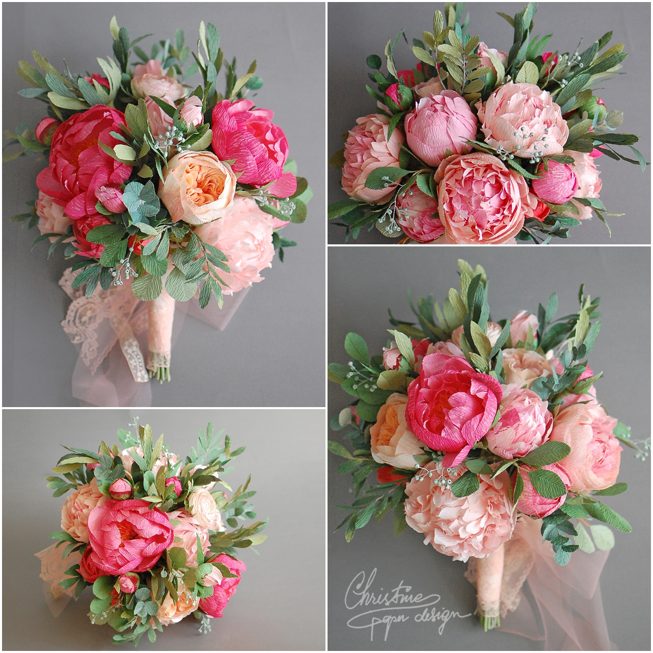 bridal bouquet with peonies - Christine paper design