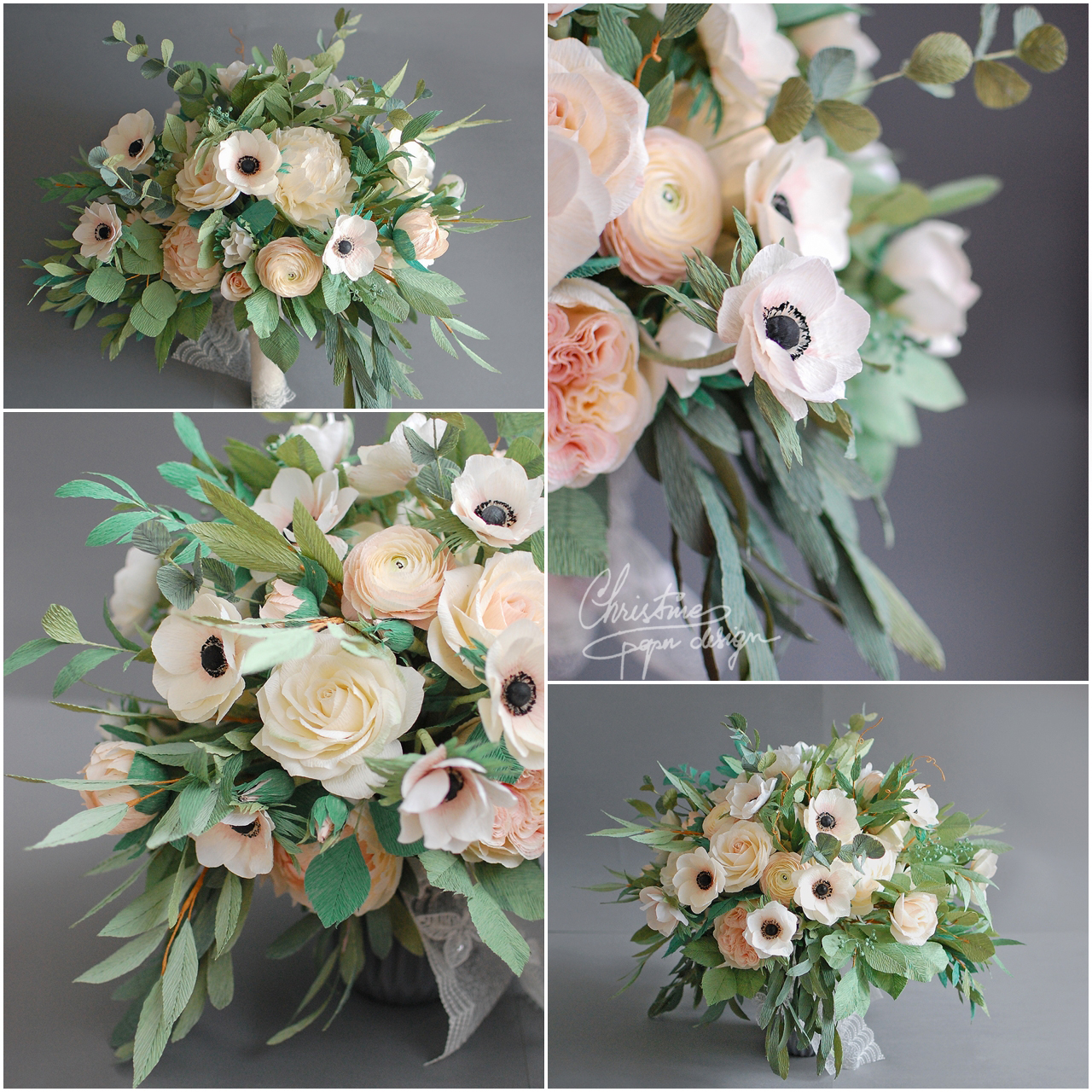 paper flowers bridal bouquet - Christinepaperdesign