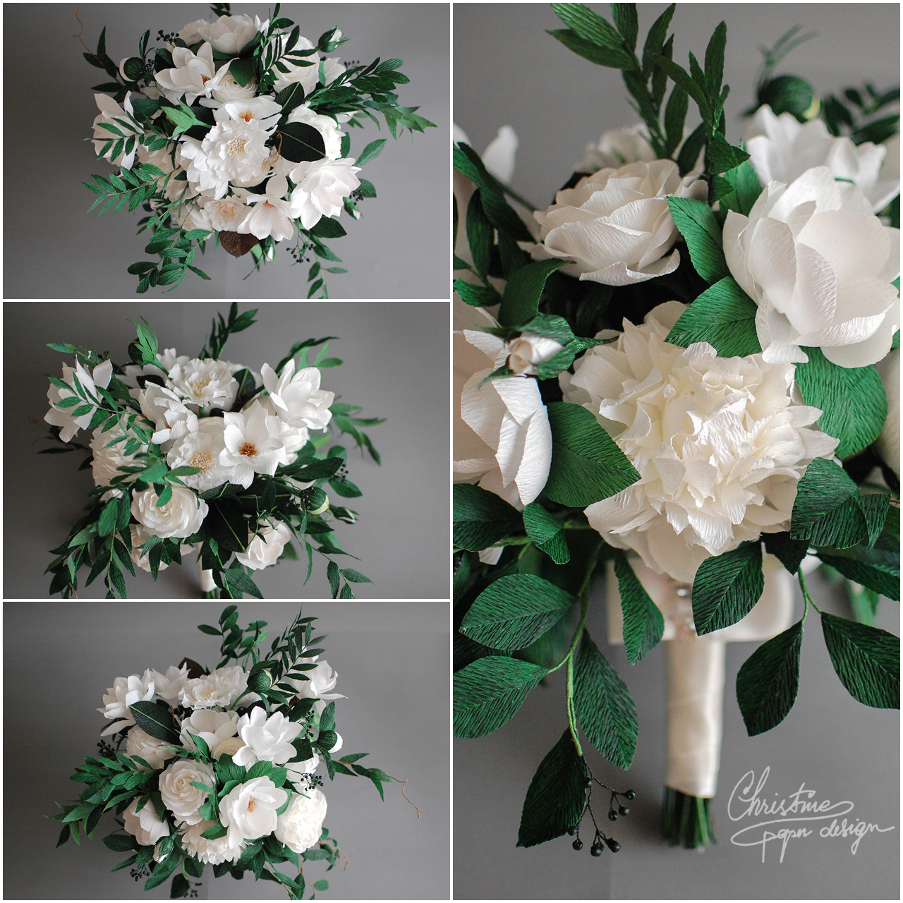 white and green bridal bouquet2 - Christinepaperdesign