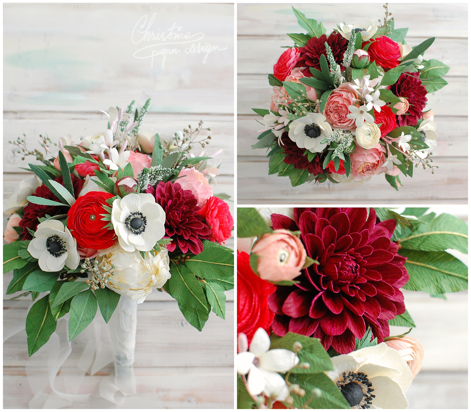 paper bridal bouquets with red - Christine paper design (1)