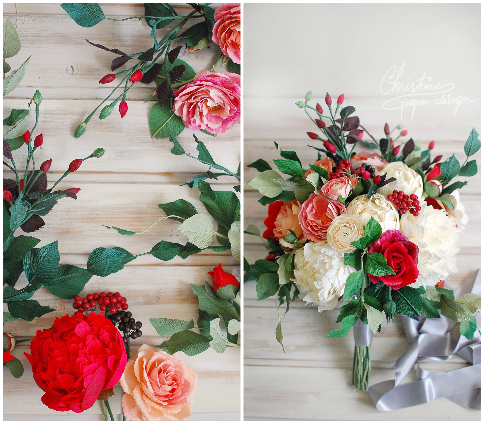 paper bridal bouquets with red - Christine paper design (3)