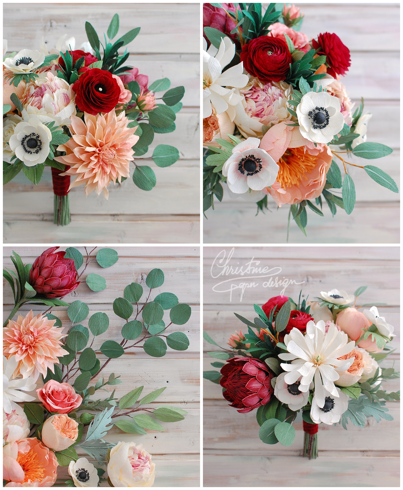 paper bridal bouquets with red - Christine paper design (4)